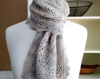 Knitting Lace Scarf Pattern PDF- Smoky Mountain Morning Mist Scarf Shawl - rectangle lace cowl shawl wrap -  pattern using sock yarn