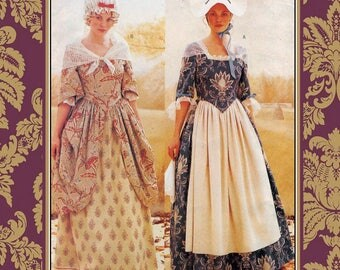 18th CENTURY AFTERNOON GOWN-Costume Sewing Pattern-Two Styles-Lined-Fitted-Bodice-Draped Over-Draped Skirt-Hat-Cap-Lace Trim-Size 6-10-Rare