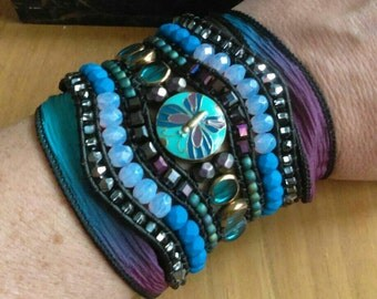 Moody Blues Beaded Handwoven Leather Statement Cuff Bracelet Umbre Silk Ribbon Wrap