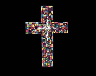 Mosaic China Tile Cross, 16 Inch Cross, Mosaic Wall Hanging, Christian Decor Ready to Ship