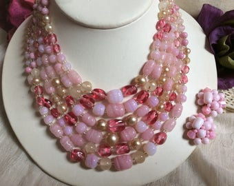 Vintage 6 strands pink glass beads necklace, pink tones glass beads six strand necklace, pink necklace clip earrings set