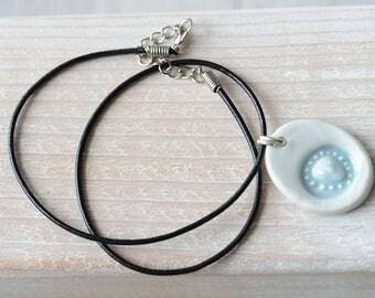 1 Ceramic Pottery porcelain small oval translucent Alien necklace