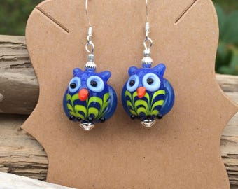 Spring earrings Owl Moon earrings owl charms owl earrings fun blue and yellow owls owl party favor  owl bridal shower bird lover JunQueJules