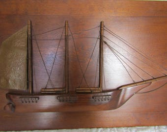 Vintage Oak Ship Wall Hanging Stunning Solid Wood