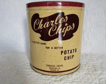 Vintage Charles Chips Potato Chip Tin  1 Lb Large tin No cover