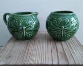 Vintage Bordallo Pineiro Dragonfly Cream and Sugar Set in Green Glaze