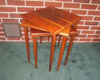 Vintage Mid Century Danish Modern Beautiful Set of Three Solid Walnut Stacking Tables