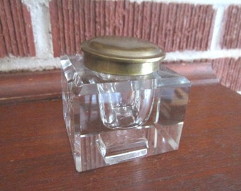 Antique Beautiful Heavy Faceted Glass Inkwell with Hinged Brass Lid
