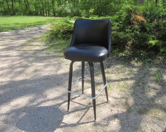 Vintage Mid Century Modern Fabulous Bar Stool with Black Vinyl Seat