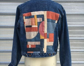 LEI denim jacket // ooak hand quilted blue & red patchwork
