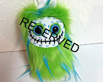 RESERVED for April Monster Plush - Skeleton Plush - Handmade Skelly Plush - Lime Green Turquoise Faux Fur - Plush Skeleton Toy - Weird Toy
