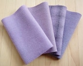 "Hand Dyed Wool Felt, LILAC, Four 6.5"" x 16"" pieces in Pastel Purple, Perfect for Rug Hooking, Applique', and Crafts"