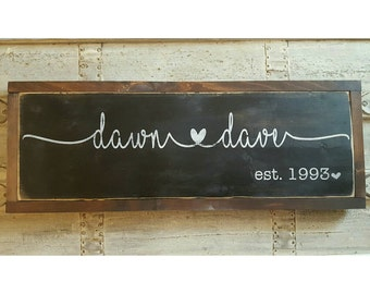 Wedding Name Sign, Personalized Gift, Wedding Gift, Anniversary Gift, Family Sign, Shabby Chic Wall Decor, Vintage Signs, Gallery Wall Sign