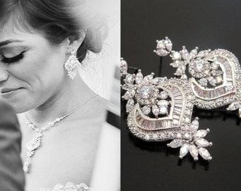 Crystal Bridal earrings, Wedding earrings, Wedding jewelry, Rose gold earrings, Art Deco earrings, Chandelier earrings, Vintage style EMMA