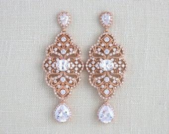 Rose Gold Bridal earrings, Crystal Wedding earrings, Bridal jewelry, Swarovski, Chandelier earrings, Wedding jewelry, Statement earrings