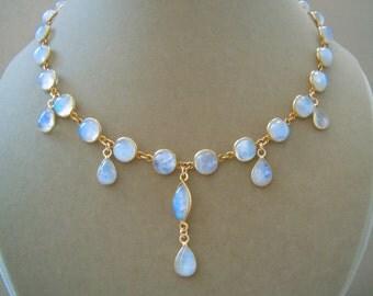 Khaleesi -- One of a Kind Rainbow Moonstone Connector Necklace