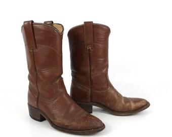 Brown Cowboy Boots Vintage 1980s Laredo Roper Distressed Women's size 6