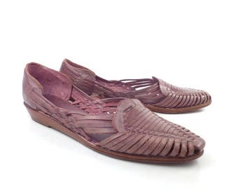 Purple Woven Sandals Vintage 1980s Brass Plum Nordstrom Leather Huaraches Women's