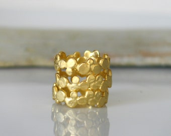 Stacking bubble band ring, Gold Plated Sterling Silver band ring, Stackable band Rings, set of 3