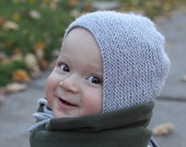 Baby Hat Knitting Pattern, Baby Bonnet, Easy Knit Baby Hat, Instant Download PDF Knitting Pattern, Modern Baby Bonnet - LONNIE