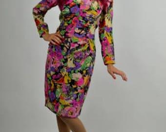 Vintage Dress, 80s Dress, Silk Dress, Ungaro Dress, Wiggle Dress, Musical Instruments Print, Floral Print, 1980s Dress, Vintage Ungaro