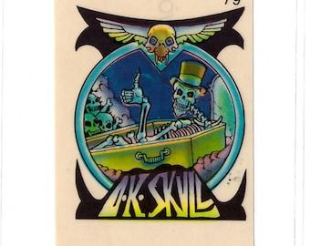 1970s Skateboard Vending Machine Stickers DR SKULL