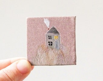 garden house  / MINIATURE painting on canvas panel