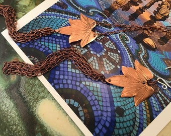 Lotus Blossom Earrings w/ Tassel - Copper, Bronze or Sterling