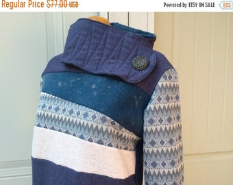 SALE AQUATIC - Hoodie Sweatshirt Sweater - Recycled Upcycled - One of a Kind Women - MEDIUM