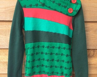 Hoodie Sweatshirt Sweater Handmade Recycled Upcycled One of a Kind FESTIVE Ladies SMALL - Holiday Xmas Red and Green Pockets