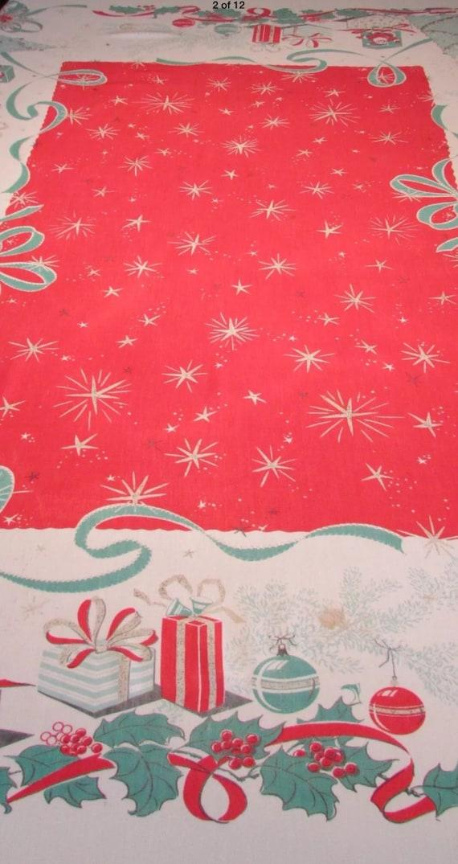 Vintage Christmas Gift Box Leacock Tablecloth Mid Century