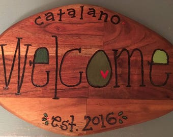 WELCOME Sign With NAME and DATE for New Homeowners Wedding Gift Vacation Home Hostess Gift Best Friend