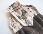 Button top towel  oven door hanging towel cabin decor fishing microfiber brown  towel