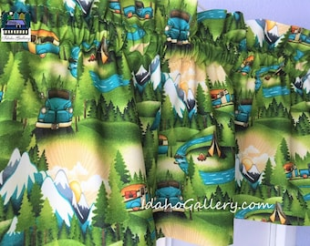 Camping Trailer Woods Mountains Retro Summer Valance Curtain Window Treatment by Idaho Gallery