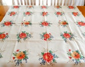 "vintage Wilendur tablecloth, 45"" x 43"", asters, unused, stained, table linens, mid century"