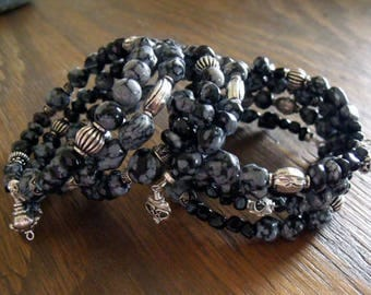 "Snowflake Obsidian and Black Onyx Wrap Bracelets with Sterling Silver Accents, Set of Two Gothic Bracelets ""Dragonglass"""