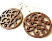 Chestnut Brown Swirl Design Wooden Earrings | Lightweight Everyday Wear Dangle Earrings | Natural Earthy Hippie Style Jewellery