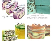 Handmade Vegan Soaps - 4 pack discount and low shipping - elegant gift packaging