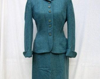 Final SALE 40s Blue Wool Suit size Medium Mary Lane Herringbone Suit
