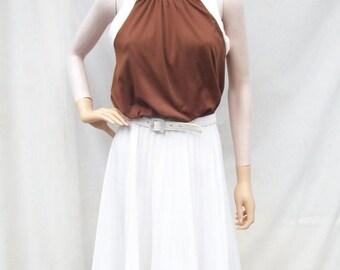 ON SALE 60s Pleated Dress size Small Medium Tie Back Dress Sleeveless Sundress