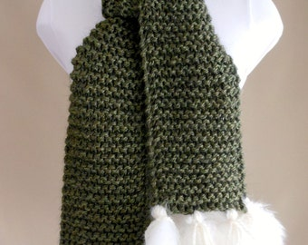 Moss Green Alpaca Scarf with Shearling Fringe Scarf