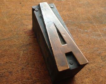 Antique Copper on wood Printers Block - Letter A