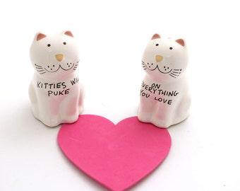 Cat Salt and Pepper Shakers - kitties will puke on everything you love - funny gift for cat lover - crazy cat lady