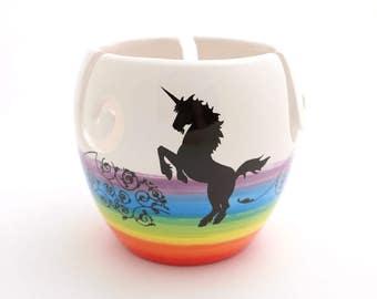 large ceramic yarn bowl with unicorn and rainbow ,  knitting bowl , crochet , ceramic yarn bowl , bright colorful knitting supplies