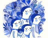 Indigo Sisters... - limited edition giclee print of an original watercolor illustration (8 x 8 in)