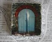 Original, Miniature, Art, Wooden Door, 4 x 4, Blue, Stone Wall, Brick, Silver, Castle