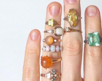 Peridot Gold Ring. Petite Emerald Cut. Late Art Deco Early Retro. 3.5 S.