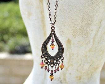 Bohemian Chandelier Necklace, Orange Pink, Vintage Jewel, Antique Copper, Czech Glass