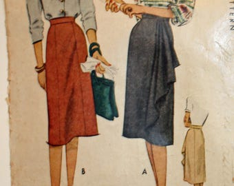 Vintage 1940s Sewing Pattern, McCall 6667, Misses' Skirt in Two Styles, Slim or Slim With Side Cascade Drape, Waist Size 32 Inches, Printed
