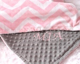 Personalized Baby Blanket For Girl / Minky Baby Blanket Girl, Gray Pink Chevron Blanket For Baby // Name Baby Blanket // Custom Blanket